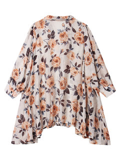 Loose Flower Printed Button Lapel Chiffon Tops For Women