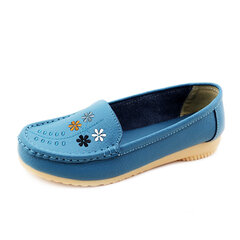 Flower Embroidery Leather Soft Comfortable Casual Slip On Flat Shoes