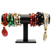 PU Leather Black T-Bar Jewelry Display Stand