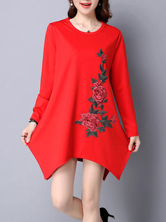 Ethnic Wind Women Loose Embroidered Long Sleeve Irregular Mini Dress