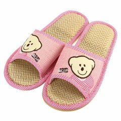 Unisex Cute Bear Open Toe Slip On Flat Indoor Home Shoes