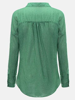 Women Casual V Neck Pure Color Single Breasted Long Sleeve Blouse