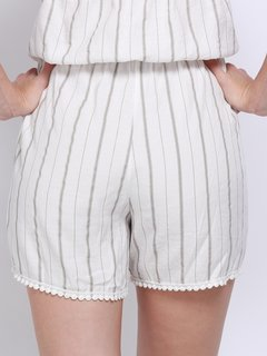 Women Casual Stripe Halterneck Backless Lace-up Sleeveless Short Jumpsuits