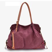 Women Canvas Tote Bags Shopping Bags Casual Crossbody Bags Clutches Wallets 3 Pcs