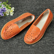 Socofy Little Flower Breathable Slip On Flat Leather Hollow Out Loafers