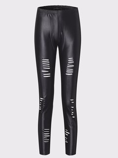 Women Sexy Leather Hollow Slim Legging
