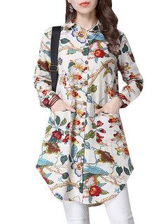 Folk Style Floral Printed Elegant Women Vintage Long Blouse