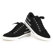 Men Pu Letter Color Match Breathable Waterproof Lace Up Casual Shoes
