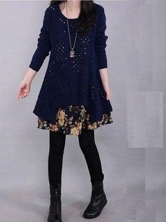 Ретро Трикотажное Печатный с длинным рукавом Лоскутная платье свитер