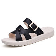 Leather Hollow Out Strappy Bandage Buckle Flat Slip On Beach Slipper Sandals