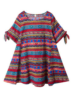 Folk Style Geometric Printed A-Line Linen Dress For Women