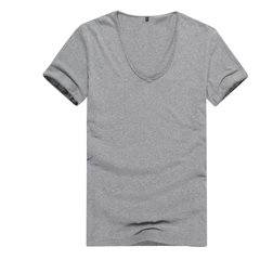 Men's Summer Casaul Tees V-neck Roll-up Sleeve Short-sleeved T-shirt