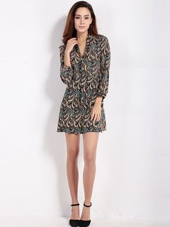 Women Ethnic Floral print A-line V-neck 3/4 Sleeve Mini Dress