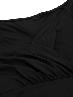 Women Black V Neck A-Line Dress