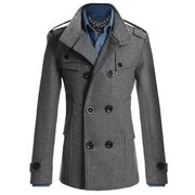 Mens Fashion British Style Coat Solid Color Woolen Double Breasted Casual Long Jacket
