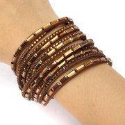 6 Layer Wrap Crystals Leather Bracelets