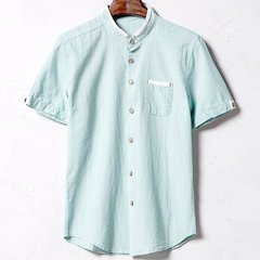 Spring Summer Mens Breathable Flax Solid Color Short Sleeve Casual Shirts