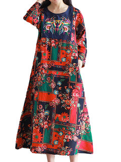 Chinese Style Embroidery Printed Long Sleeve A-Line Dress For Women