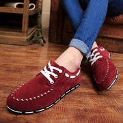 England Style Men Casual Shoes Soft Seude Shoes For Men Male Lace Up Flat Shoes