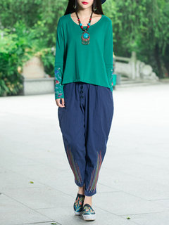Loose Ethnic Embroidery Round Neck Asymmetrical Hem Blouse For Women