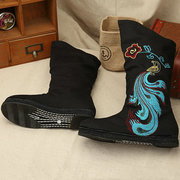 Phenix Vintage National Wind Retro Slip On Flower Flat Mid Calf Boots
