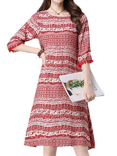 Chinese Style Stripe Tassel Patchwork A-Line Dress For Women