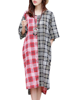 Casual Plaid Color Contrast Half Sleeve Side Split High Low Dress For Women