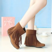 Big Size Pu Tassel Slip On Ankle Pure Color Heel Increasing Boots