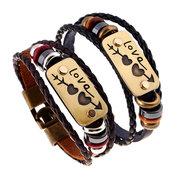 Couple Punk Cow Leather PU Woven Alloy Stone Mandrel Bracelet