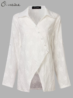 O-NEWE Ethnic Women Embroideried Adjustable Sleeve Button Blouse Coat