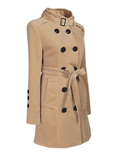 OL Camel Double-breasted Long Trench Women Coat