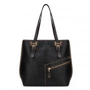 Retro Simple Large Women Diagonal Zipper Handbag