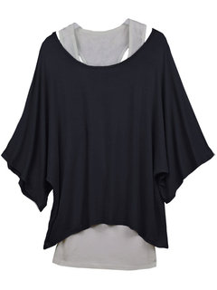 Casual Two Piece Loose Short Bat Sleeve O-Neck T-shirt