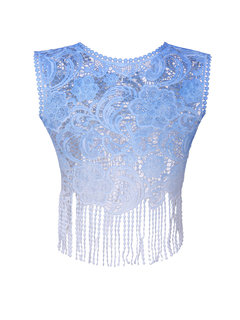 Crocheted Lace Tassel Hollow Sleeveless Women Short Vest