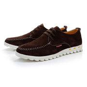 Big Size Men Suede Pure Color British Style Casual Lace Up Flat Shoes