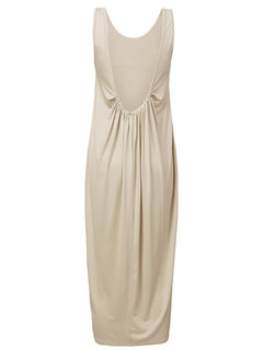 Brief Pure Color Backless Sleeveless Party Women Long Dress