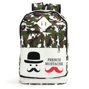 Women Casual Canvas Camouflage Mustache Backpack