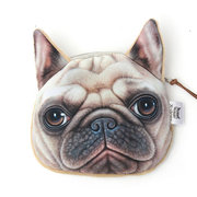 Women Cute 3D Dog And Cat Face Print Coin Zipper Purse