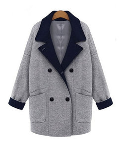 Elegant Lapel Buttons Pocket Coat Cardigan Outwear For Women