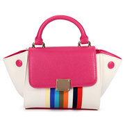 Rainbow Women Color Block Stripe Wings Handbag
