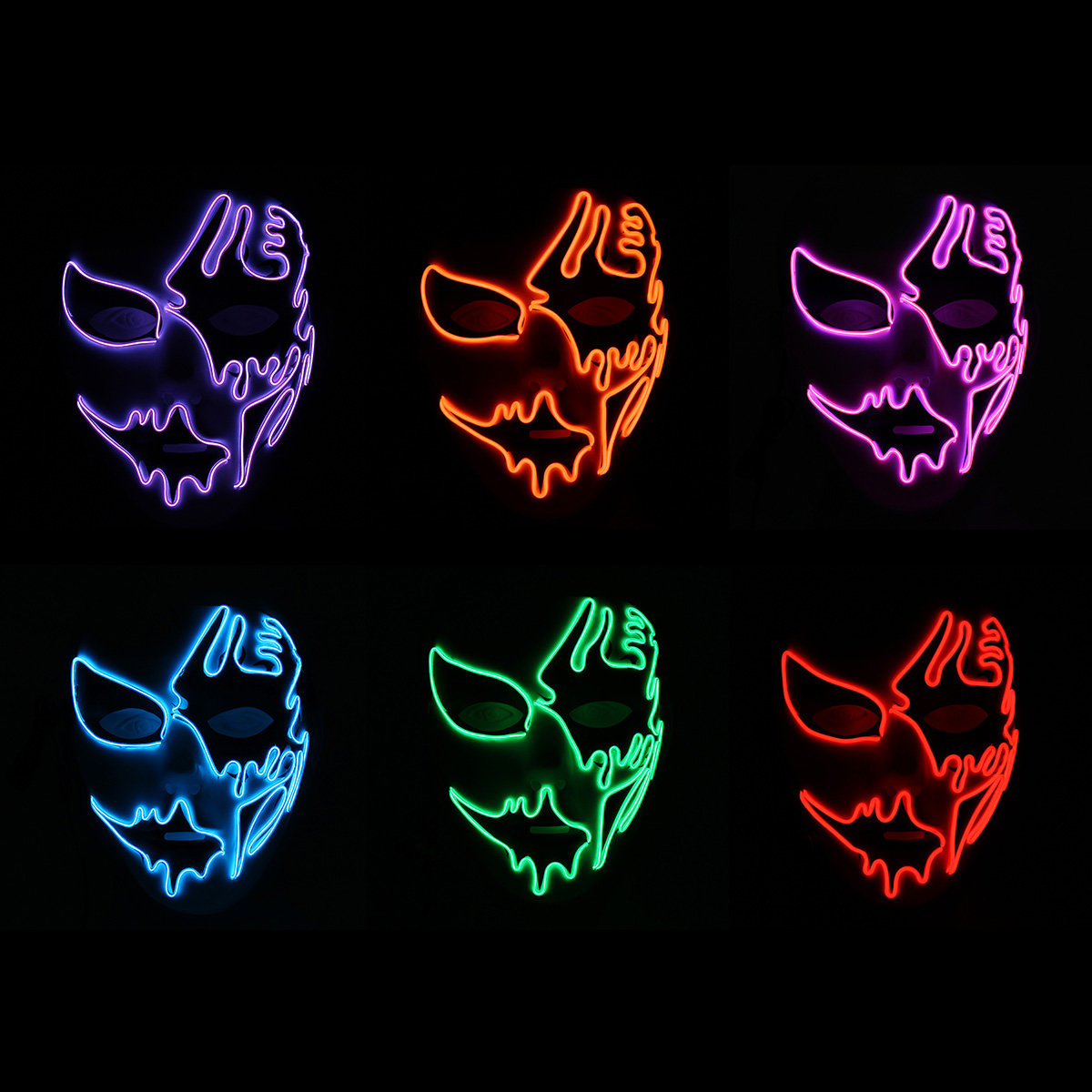 LED Luminous Flashing Party Masks, Orange purple red green blue pink