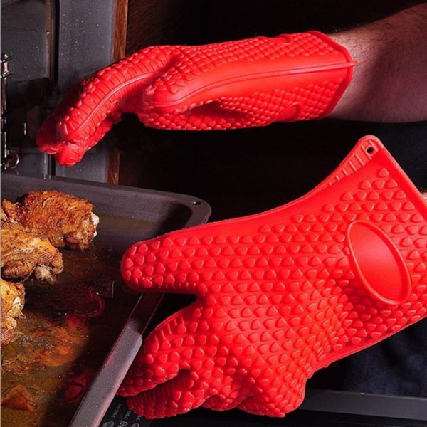 Thicken Silicone Heat Resistant Gloves Grilling Gloves Antiskid BBQ Cooking Protective Gloves, Orange black red