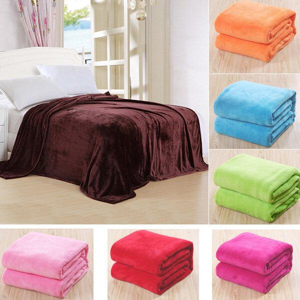 150x100cm Flannel Blanket Sofa Bed Soft Coral Fleece Bedding, Light green sky blue white light orange