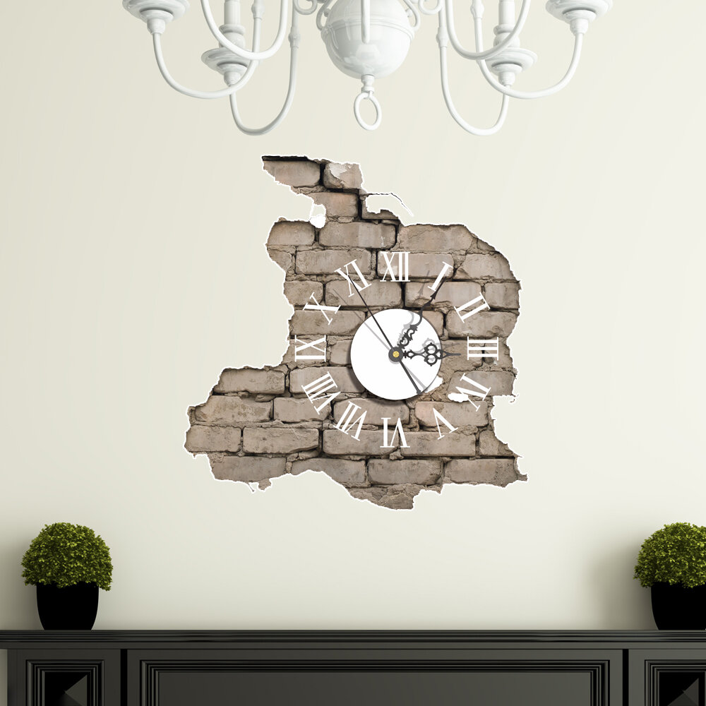 PAG STICKER 3D Wall Clock Decals Breaking Cracking Wall Sticker ...