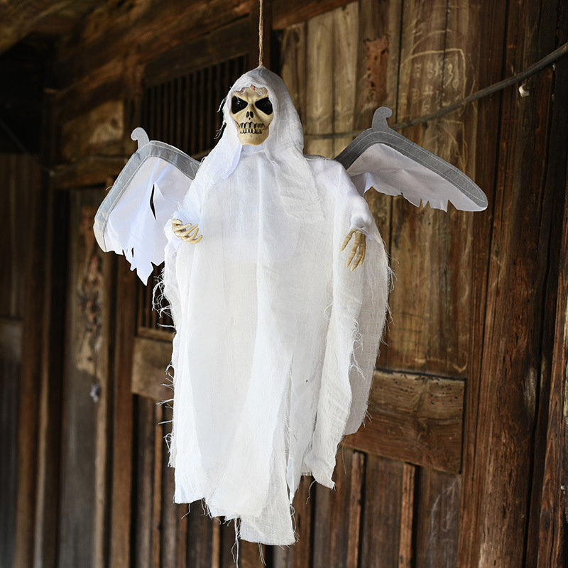 Scary Animated Skeleton Hanging Ghost, White