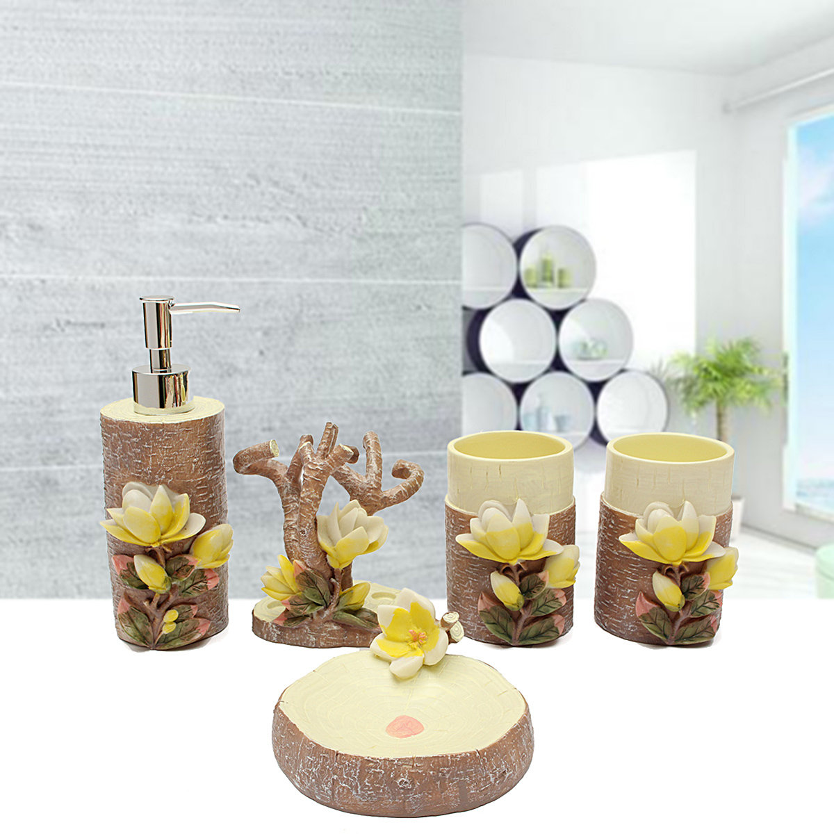 5Pcs 3D Magnolia Scalpture Bathroom Accessories Soap Holder ...
