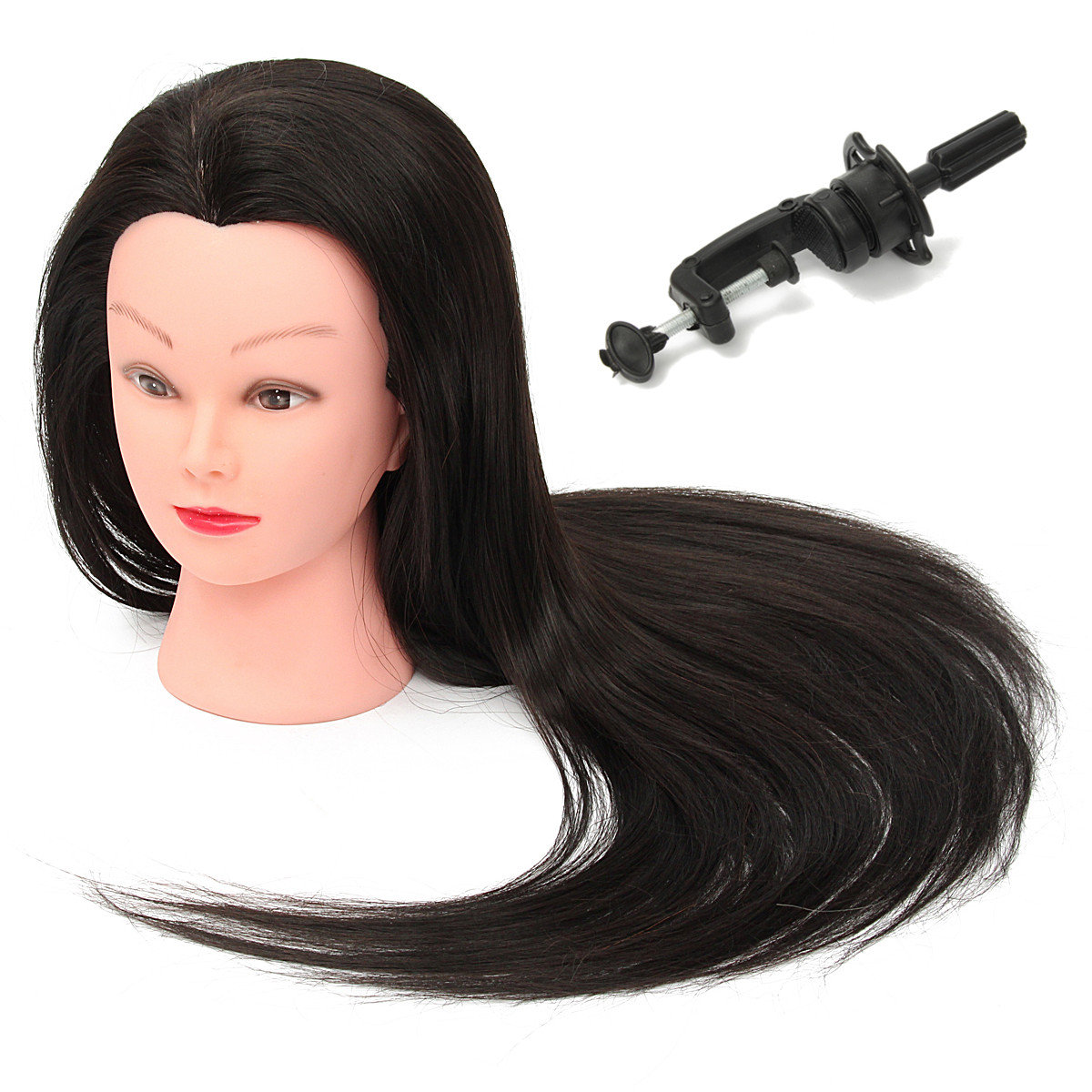 28 Inch 50% Real Long Straight Hair Practice Hairdressing Training Head Model With Clamp