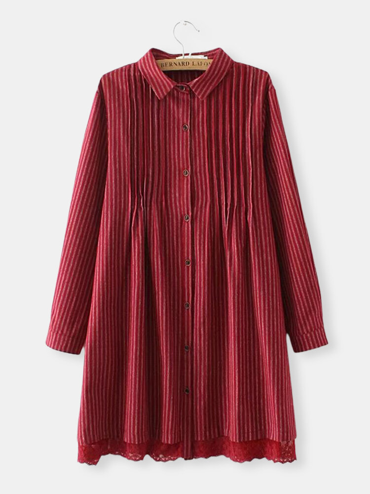 Fashion Stripe Ruffle Long Sleeve Lapel Shirt, Red