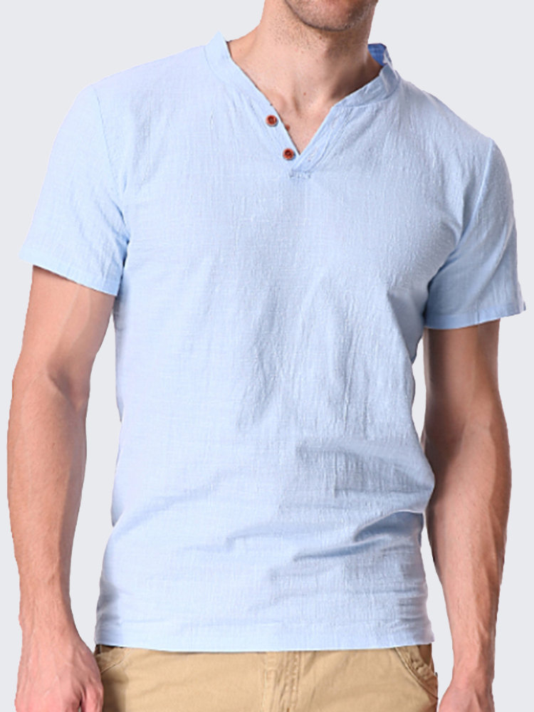 c465ddbd17 Mens Casual Linen V-neck Chinese Collar Short Sleeve T-shirt Fashion Solid  Color Tops