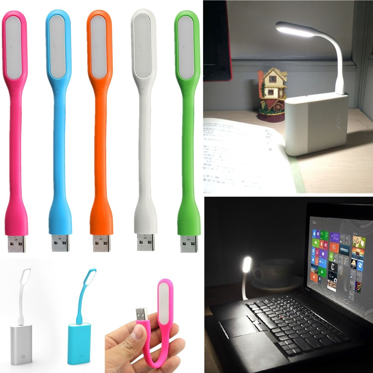 Portable LED USB Light For Computer Notebook PC Laptop Power Bank, Rose pink blue green orange